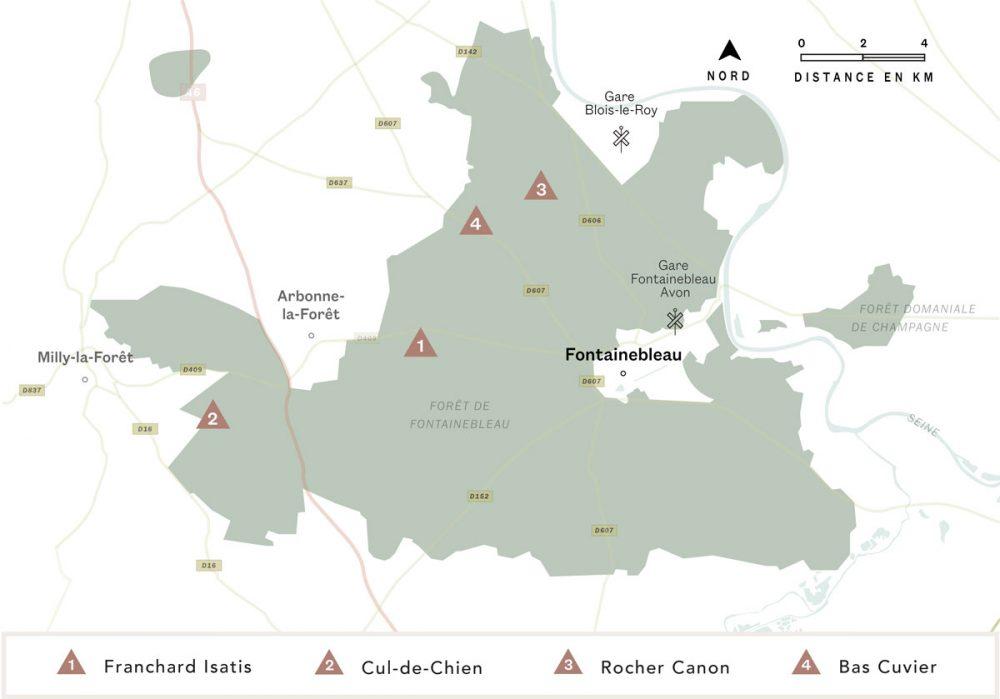 Carte de Fontainebleau avec les 4 spots que nous vous présentons dans ce guide.
