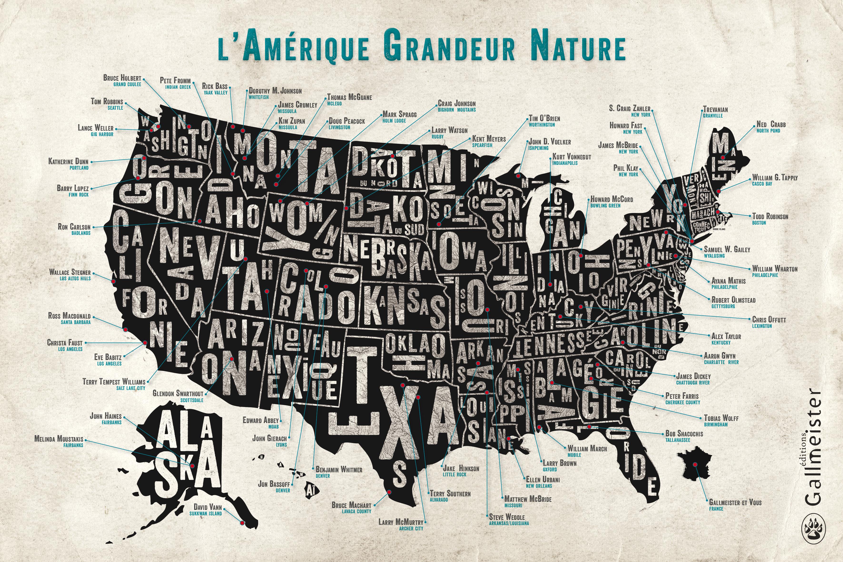 Affiche Amérique auteurs gallmeister nature writing
