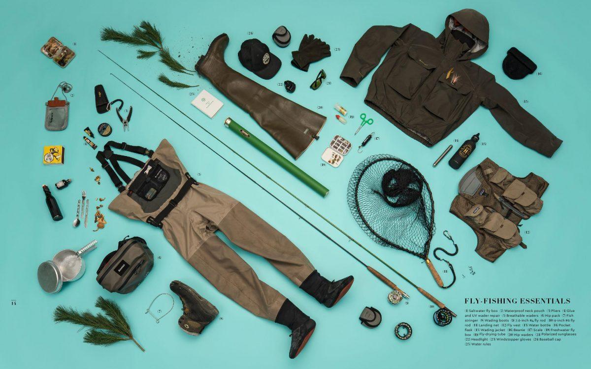flatlay matériels pêche à la mouche fly fisher gestalten