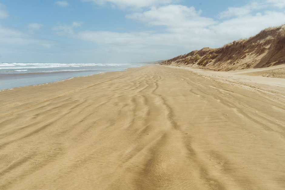Ninety Mile Beach sur le Te Araroa Trail en Nouvelle-Zélande