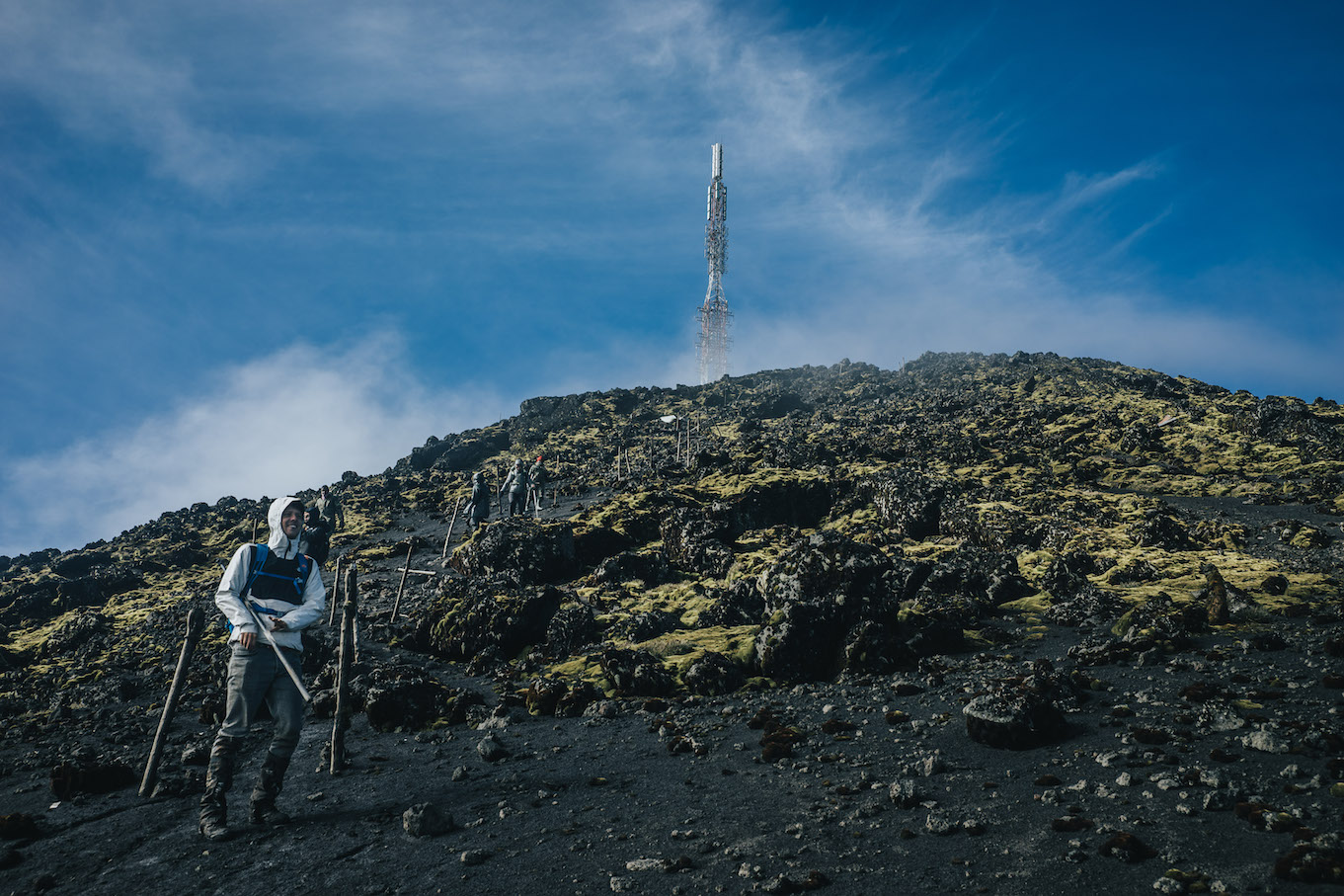 L'antenne au sommet du volcan Karisimbi au Rwanda.